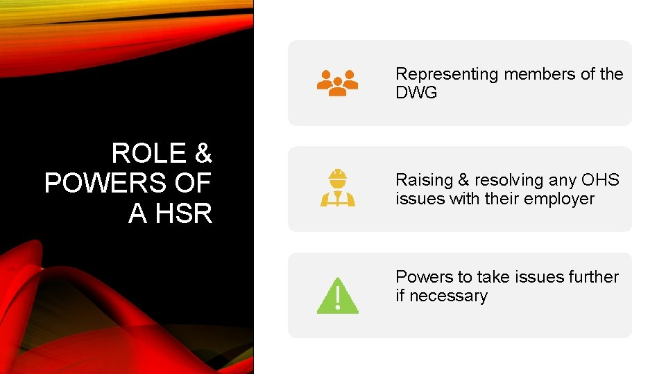 Representing members of the DWG ROLE & POWERS OF A HSR Raising & resolving