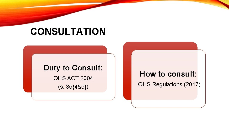 CONSULTATION Duty to Consult: OHS ACT 2004 (s. 35{4&5}) How to consult: OHS Regulations