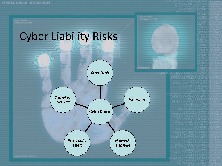 Cyber Liability Risks Data Theft Denial of Service Extortion Cyber. Crime Electronic Theft Network