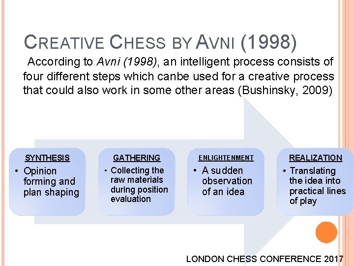 CREATIVE CHESS BY AVNI (1998) According to Avni (1998), an intelligent process consists of