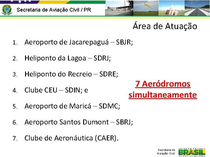 Secretaria de Aviação Civil / PR Área de Atuação 1. Aeroporto de Jacarepaguá –