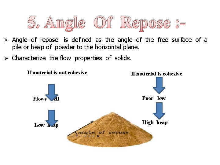 5. Angle Of Repose : Ø Angle of repose is defined as the angle