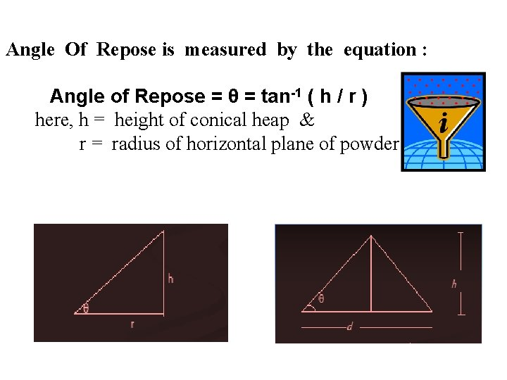 Angle Of Repose is measured by the equation : Angle of Repose =