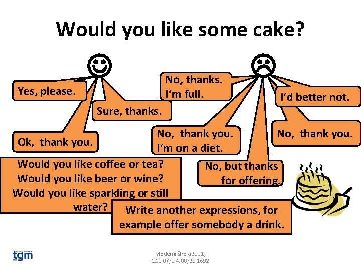 Would you like some cake? No, thanks. I'm full. Yes, please. Sure, thanks. I'd
