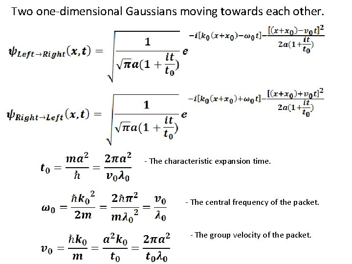 Two one-dimensional Gaussians moving towards each other. - The characteristic expansion time. - The