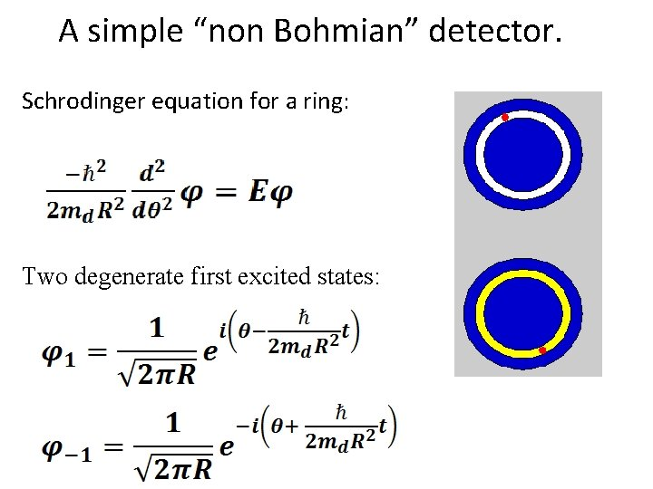 "A simple ""non Bohmian"" detector. Schrodinger equation for a ring: Two degenerate first excited"