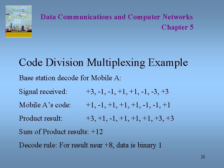 Data Communications and Computer Networks Chapter 5 Code Division Multiplexing Example Base station decode