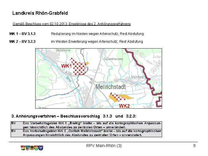 Landkreis Rhön-Grabfeld Gemäß Beschluss vom 02. 10. 2013: Ergebnisse des 2. Anhörungsverfahrens WK 1