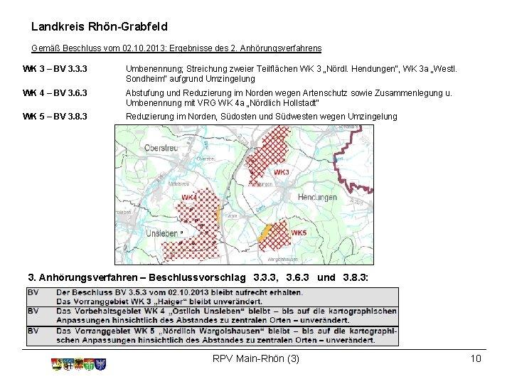 Landkreis Rhön-Grabfeld Gemäß Beschluss vom 02. 10. 2013: Ergebnisse des 2. Anhörungsverfahrens WK 3