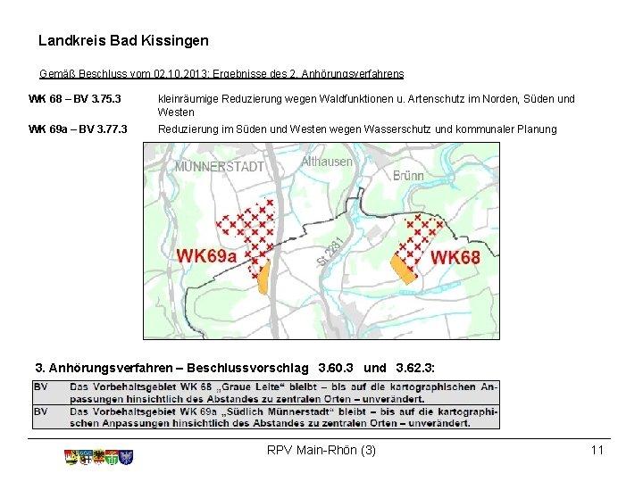 Landkreis Bad Kissingen Gemäß Beschluss vom 02. 10. 2013: Ergebnisse des 2. Anhörungsverfahrens WK