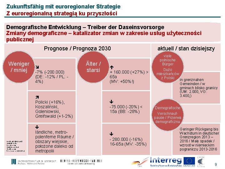Zukunftsfähig mit euroregionaler Strategie Z euroregionalną strategią ku przyszłości Demografische Entwicklung – Treiber der