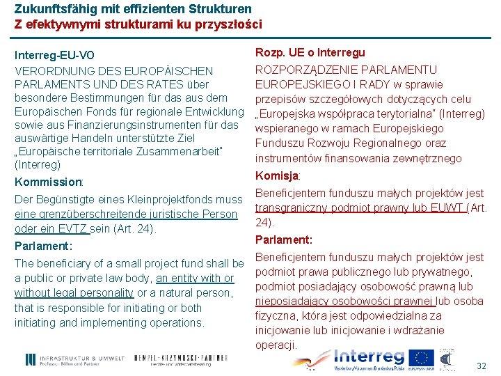 Zukunftsfähig mit effizienten Strukturen Z efektywnymi strukturami ku przyszłości Interreg-EU-VO VERORDNUNG DES EUROPÄISCHEN PARLAMENTS