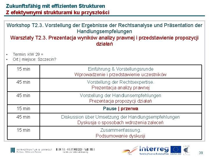Zukunftsfähig mit effizienten Strukturen Z efektywnymi strukturami ku przyszłości Workshop T 2. 3. Vorstellung