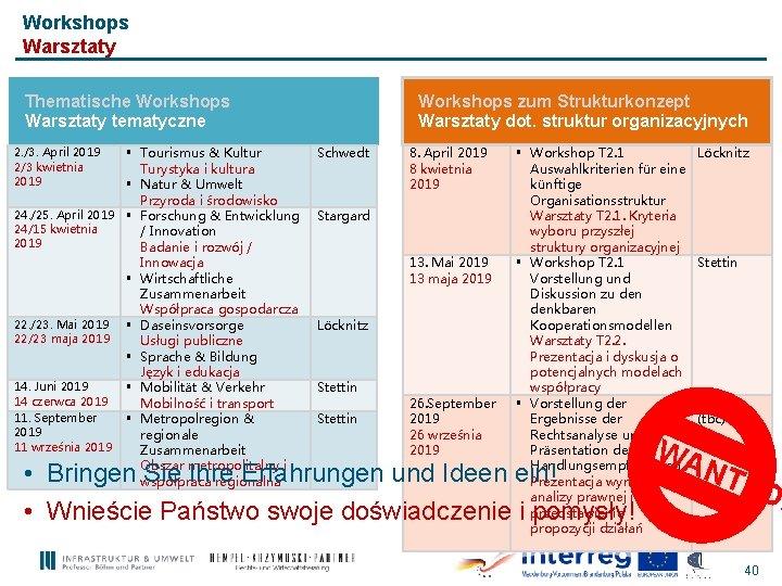 Workshops Warsztaty Thematische Workshops Warsztaty tematyczne § Tourismus & Kultur Turystyka i kultura §