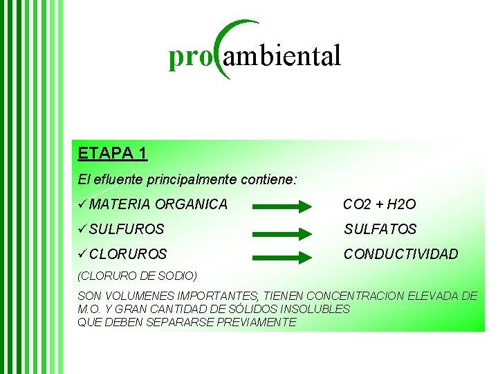 pro ambiental ETAPA 1 El efluente principalmente contiene: üMATERIA ORGANICA CO 2 + H