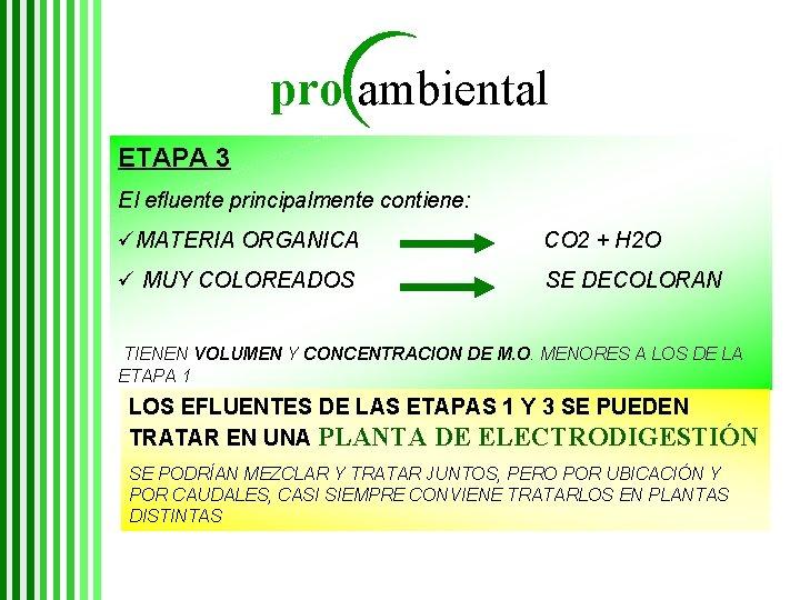 pro ambiental ETAPA 3 El efluente principalmente contiene: üMATERIA ORGANICA CO 2 + H