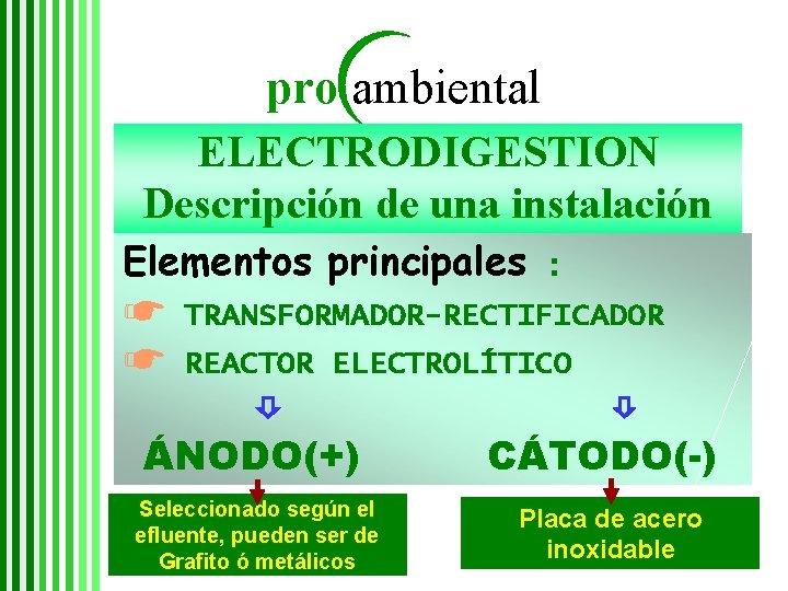 pro ambiental ELECTRODIGESTION Descripción de una instalación Elementos principales ☛ ☛ : TRANSFORMADOR-RECTIFICADOR REACTOR