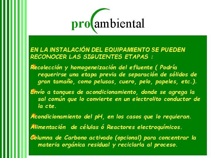 pro ambiental EN LA INSTALACIÓN DEL EQUIPAMIENTO SE PUEDEN RECONOCER LAS SIGUIENTES ETAPAS :