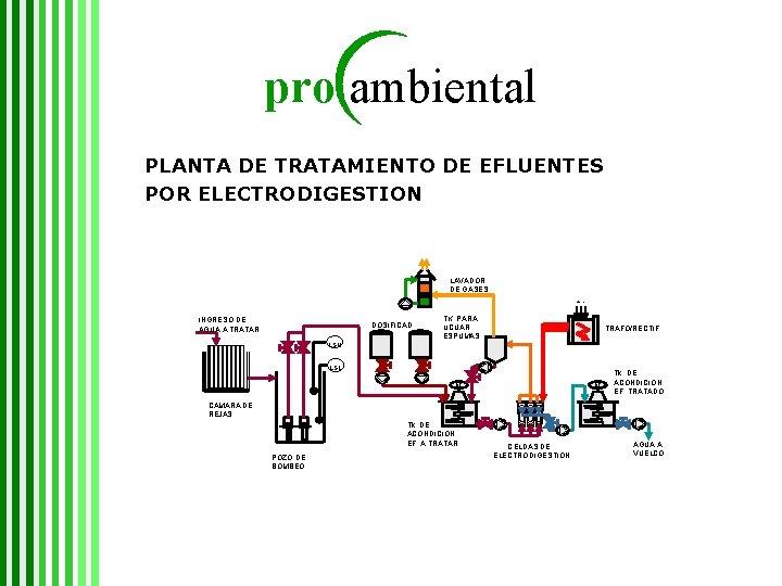 pro ambiental PLANTA DE TRATAMIENTO DE EFLUENTES POR ELECTRODIGESTION LAVADOR DE GASES + -