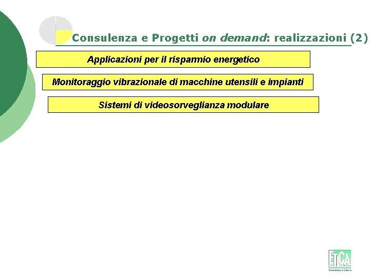 Consulenza e Progetti on demand: realizzazioni (2) Applicazioni per il risparmio energetico Monitoraggio vibrazionale