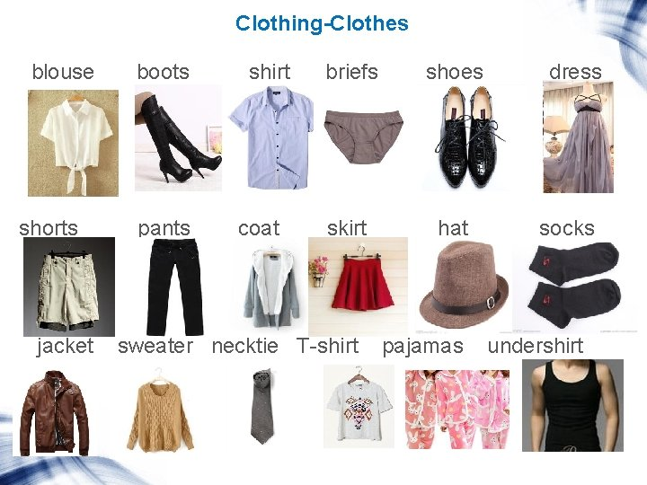 Clothing-Clothes blouse shorts jacket boots pants shirt coat briefs shoes skirt hat sweater necktie