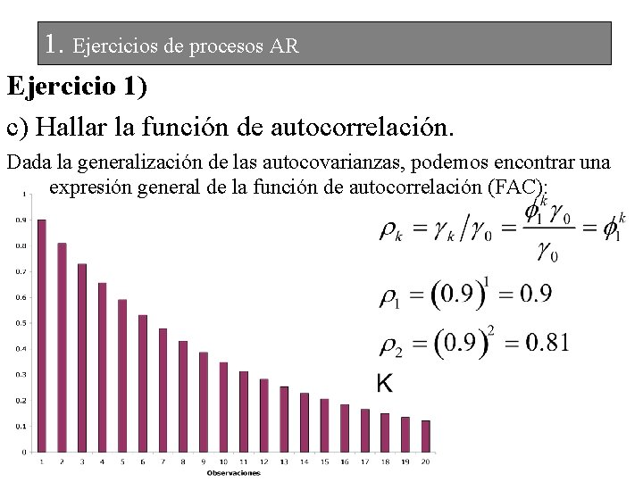 1. Ejercicios de procesos AR Ejercicio 1) c) Hallar la función de autocorrelación. Dada