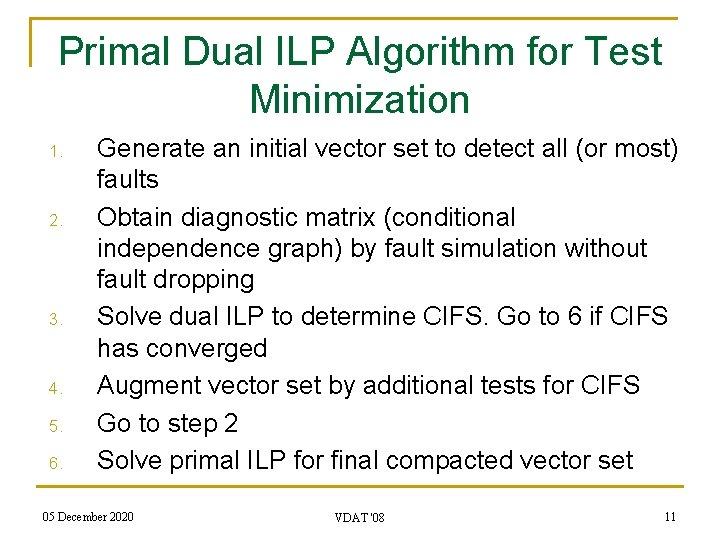 Primal Dual ILP Algorithm for Test Minimization 1. 2. 3. 4. 5. 6. Generate