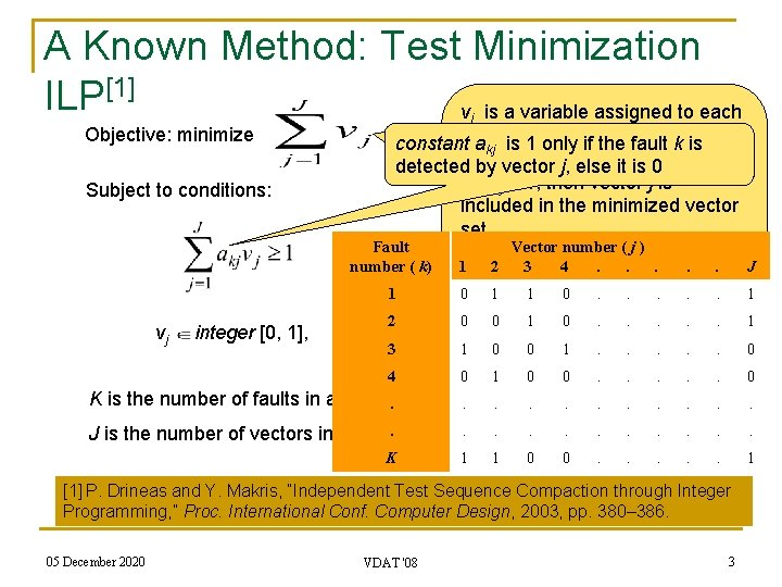 A Known Method: Test Minimization ILP[1] v is a variable assigned to each Objective: