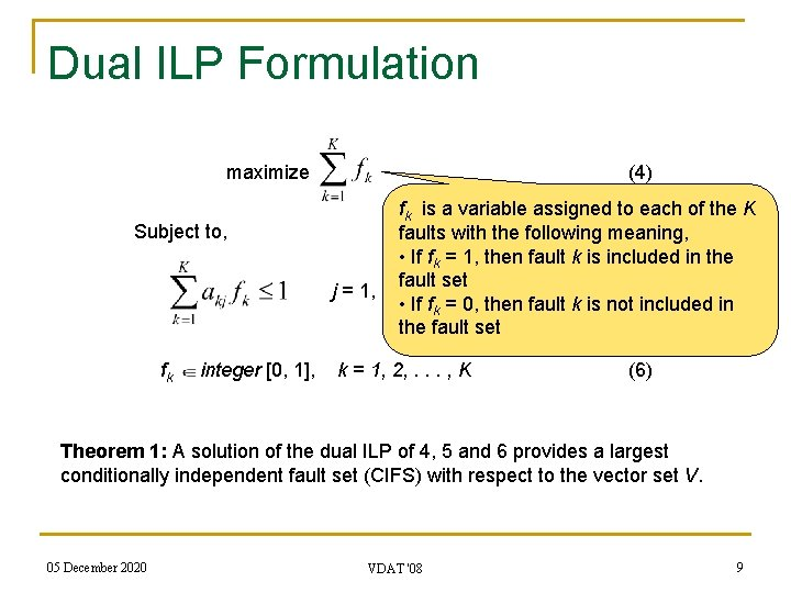 Dual ILP Formulation (4) maximize Subject to, fk integer [0, 1], fk is a