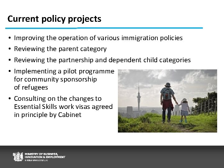 Current policy projects Improving the operation of various immigration policies Reviewing the parent category