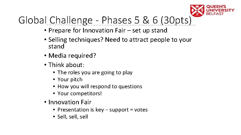 Global Challenge - Phases 5 & 6 (30 pts) • Prepare for Innovation Fair