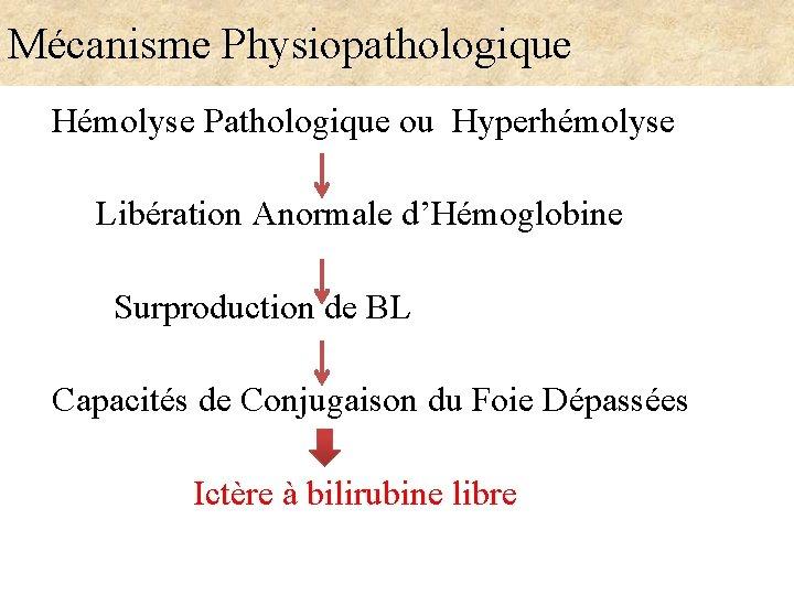 Mécanisme Physiopathologique Hémolyse Pathologique ou Hyperhémolyse Libération Anormale d'Hémoglobine Surproduction de BL Capacités de