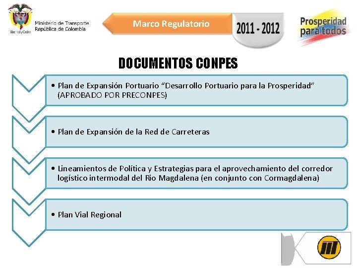 """Marco Regulatorio DOCUMENTOS CONPES • Plan de Expansión Portuario """"Desarrollo Portuario para la Prosperidad"""""""