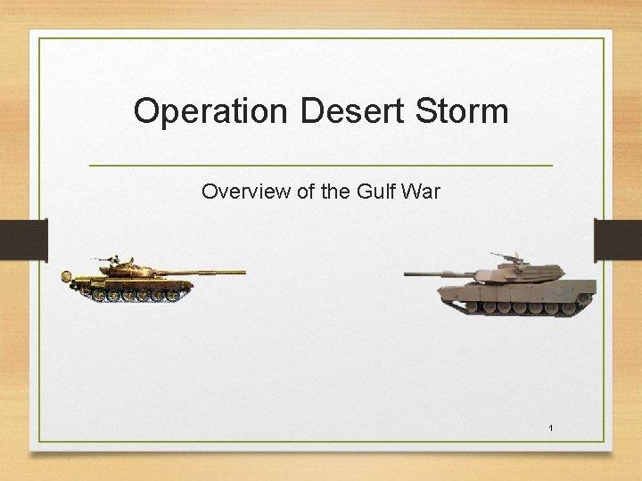 Operation Desert Storm Overview of the Gulf War 1