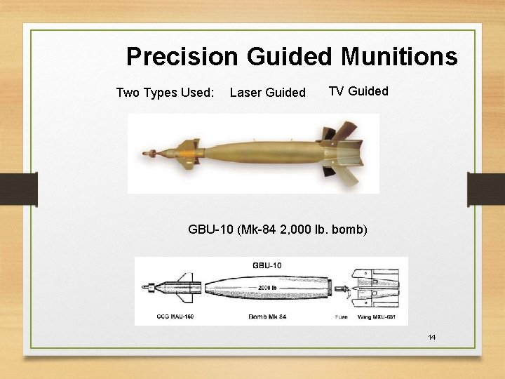 Precision Guided Munitions Two Types Used: Laser Guided TV Guided GBU-10 (Mk-84 2, 000