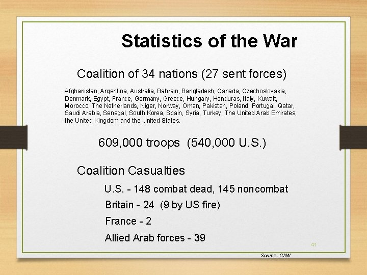 Statistics of the War Coalition of 34 nations (27 sent forces) Afghanistan, Argentina, Australia,