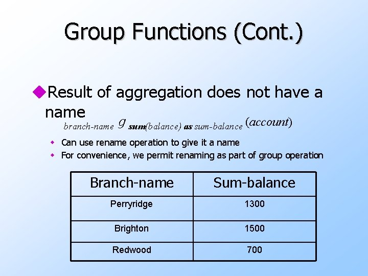 Group Functions (Cont. ) u. Result of aggregation does not have a name branch-name