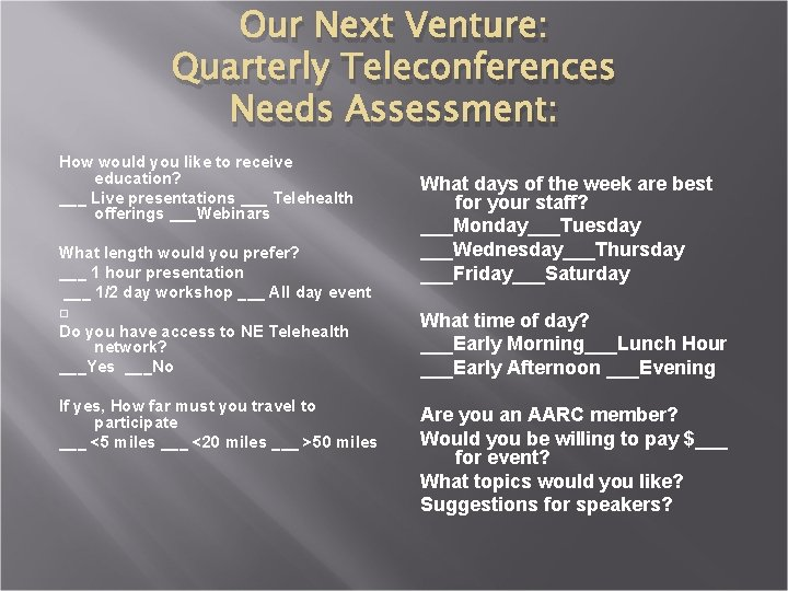 Our Next Venture: Quarterly Teleconferences Needs Assessment: How would you like to receive education?