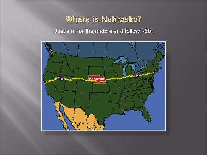 Where is Nebraska? Just aim for the middle and follow I-80!
