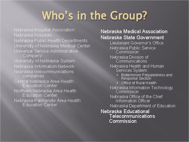 Who's in the Group? Nebraska Hospital Association Nebraska hospitals Nebraska Public Health Departments University