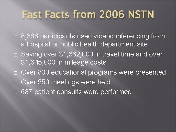 Fast Facts from 2006 NSTN 8, 388 participants used videoconferencing from a hospital or