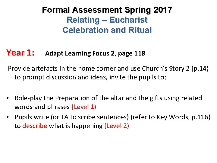 Formal Assessment Spring 2017 Relating – Eucharist Celebration and Ritual Year 1: Adapt Learning