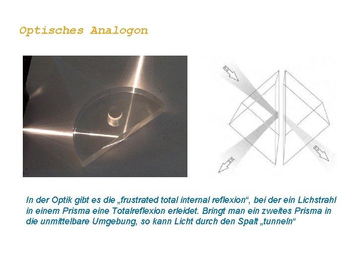 """Optisches Analogon In der Optik gibt es die """"frustrated total internal reflexion"""", bei der"""