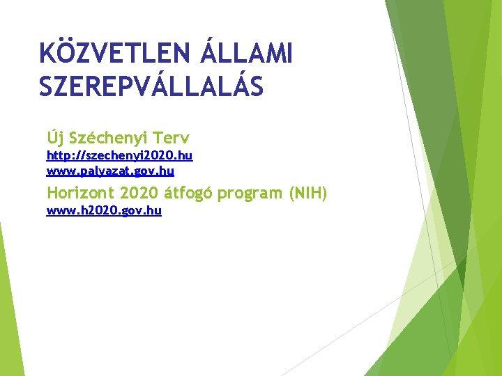 KÖZVETLEN ÁLLAMI SZEREPVÁLLALÁS Új Széchenyi Terv http: //szechenyi 2020. hu www. palyazat. gov. hu