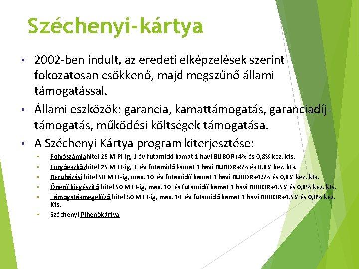 Széchenyi-kártya 2002 -ben indult, az eredeti elképzelések szerint fokozatosan csökkenő, majd megszűnő állami támogatással.