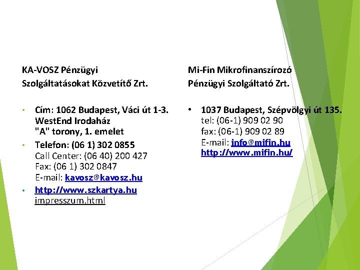 KA-VOSZ Pénzügyi Szolgáltatásokat Közvetítő Zrt. • Cím: 1062 Budapest, Váci út 1 -3. West.