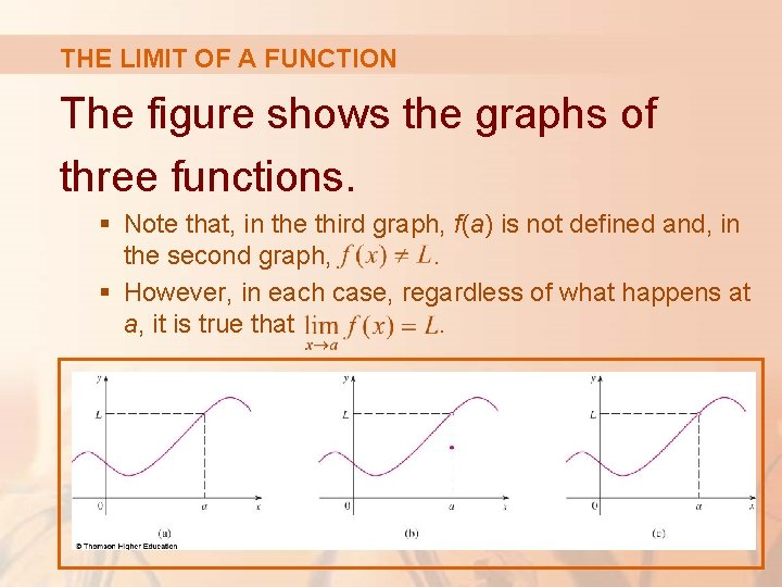 THE LIMIT OF A FUNCTION The figure shows the graphs of three functions. §