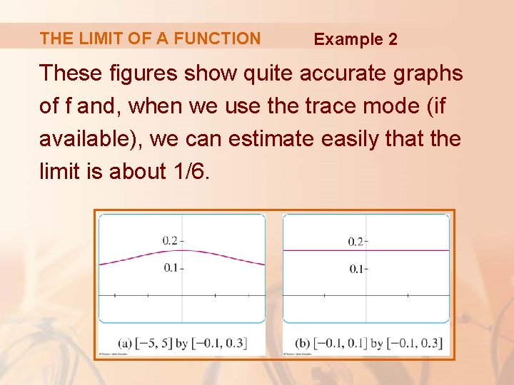 THE LIMIT OF A FUNCTION Example 2 These figures show quite accurate graphs of