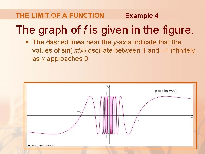 THE LIMIT OF A FUNCTION Example 4 The graph of f is given in