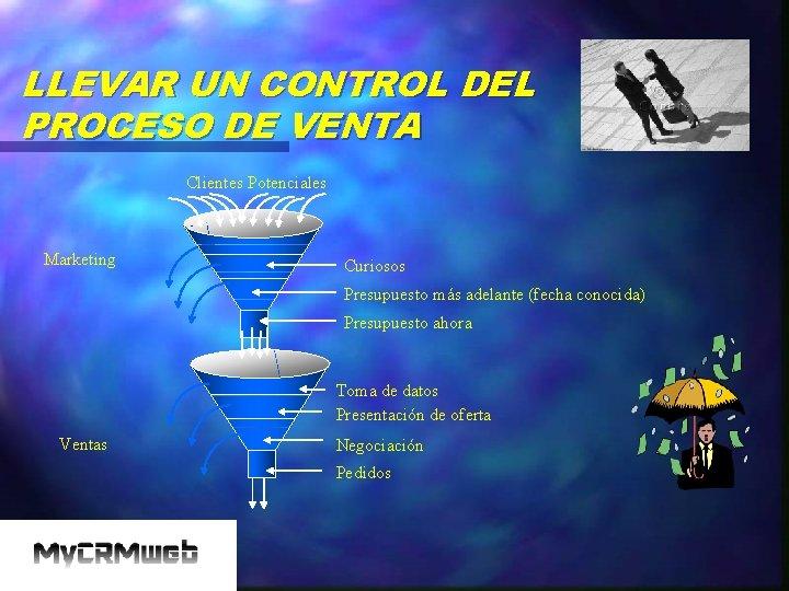 LLEVAR UN CONTROL DEL PROCESO DE VENTA Clientes Potenciales Marketing Curiosos Presupuesto más adelante